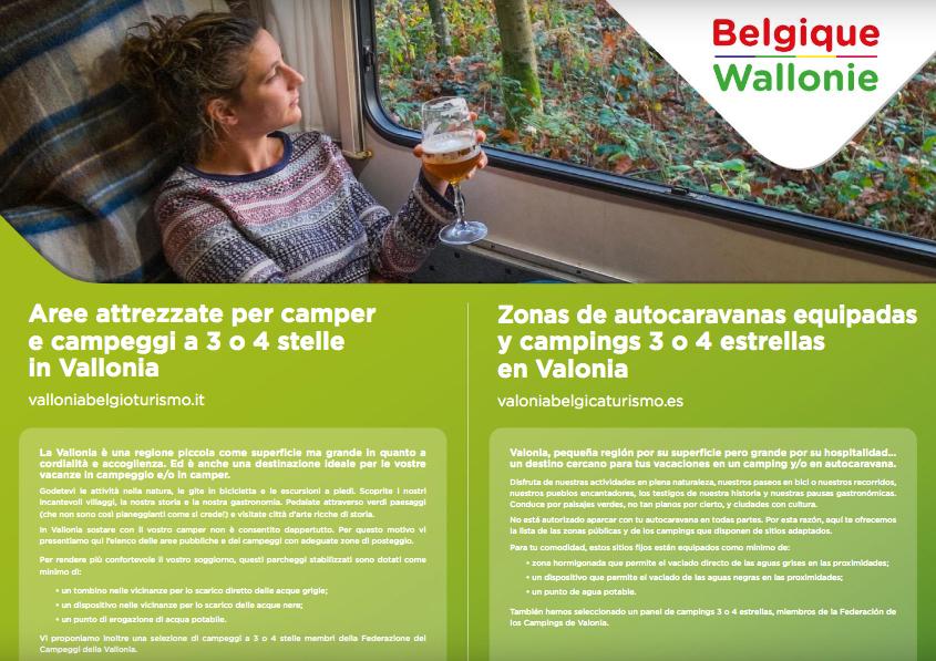 Traduzioni: carta dei campeggi e delle aree attrezzate per camper in Vallonia